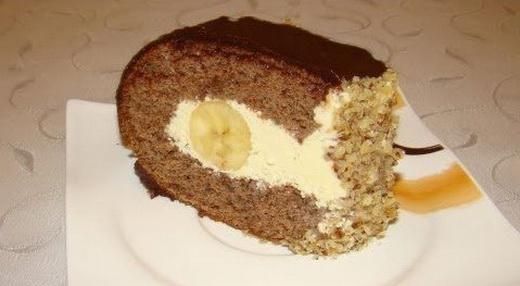 Домашний торт с бананом шоколадный