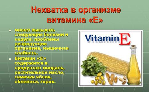витамин е нехватка