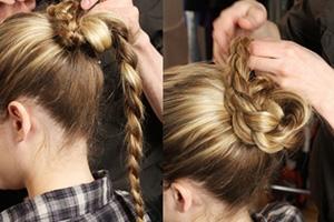 Как заплести косу вокруг пучка - шаг 4