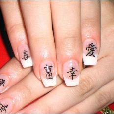 китайские иероглифы на ногтях фото