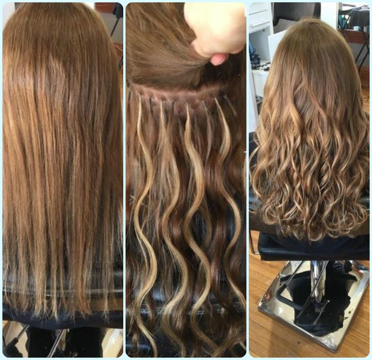 фото ленточное наращивание волос до и после
