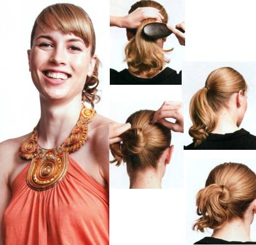 Прическа - узел на средние волосы