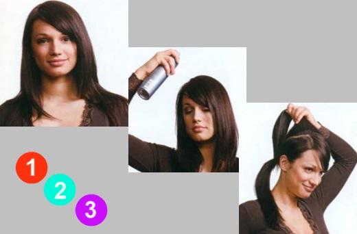 Делаем хвост и выделяем прядь волос