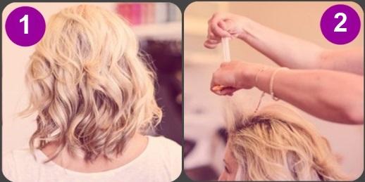 Отделяем прядь волос спереди