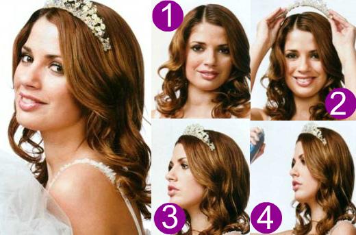 Как делать свадебные прически на средние волосы с тиарой