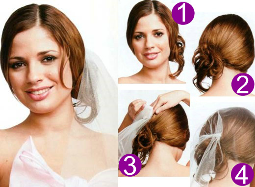 Как делать свадебные прически с фатой