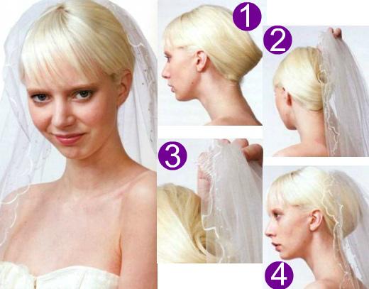 Как делать свадебные прически с фатой на гребне