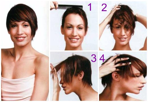 Как уложить короткую стрижку прядями на лицо