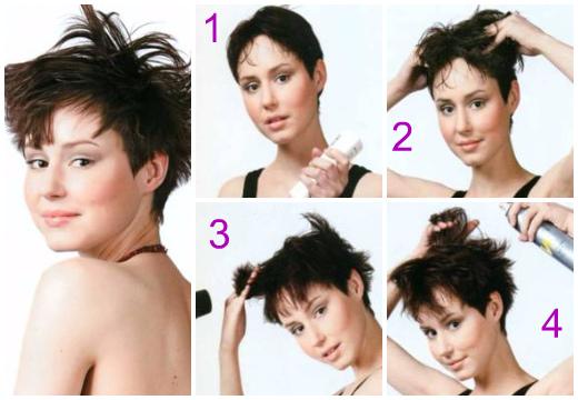 Укладка коротких волос с эффектом небрежности