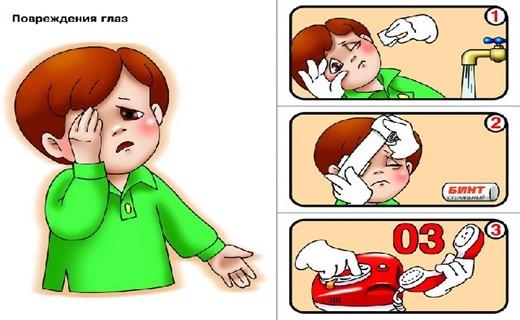 Первая помощь при попадании в глаз