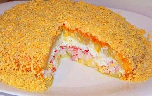 Слоеный торт с лисичками