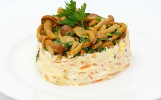 Салат с опятами и ветчиной рецепт с пошагово
