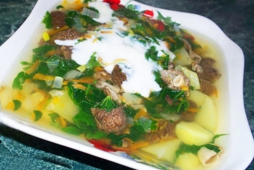 Суп со сморчками